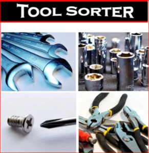 Tool Sorter Logo with a variety of hand tools