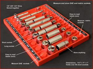 Annotated picture of Tool Sorter socket organizer annotated