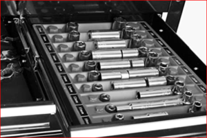 Tool Sorter socket organizer in toolbox drawer