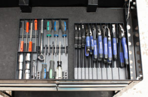 screwdriver and pliers organizers in toolchest drawer