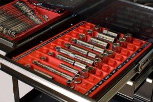 Red Tool Sorter Socket Organizer in tool chest drawer