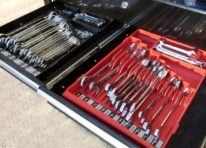 wrench organizers in tool chest drawer
