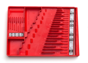Closeup of Tool Sorter wrench organizer - red
